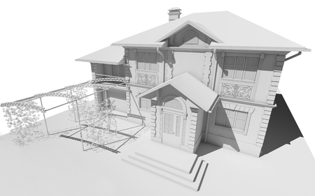 White model of the cottage. 3D rendering