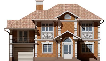 3d rendering - The facade of a cottage made of brick with white elements Stock Photo