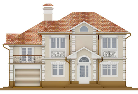 3d rendering - Facade of light, beige cottage with white elements Stock Photo