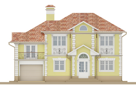 3d rendering - Facade of a light, yellow cottage with white elements