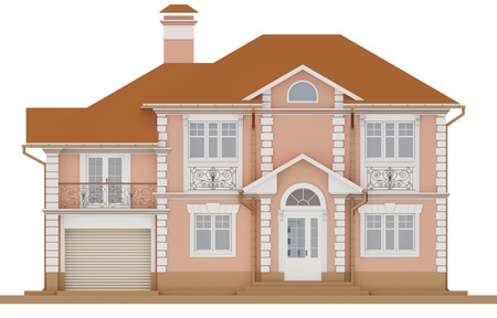 3d rendering - The facade of a pink cottage Stock Photo