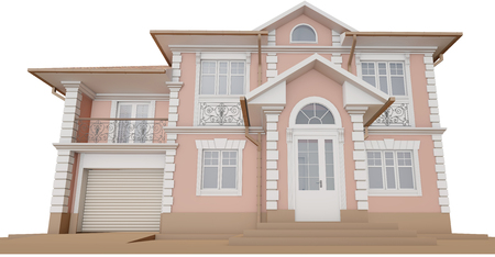3d rendering - Bottom view of a pink cottage Stock Photo