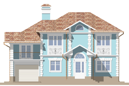 3d rendering - The facade of a blue cottage