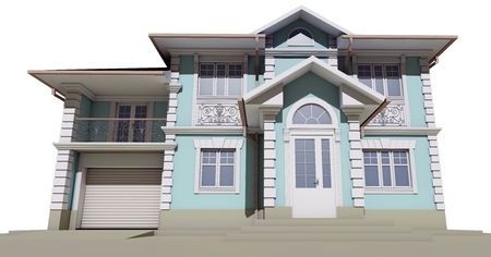 3d rendering - Bottom view of the blue cottage
