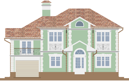 3d rendering - The facade of a green cottage