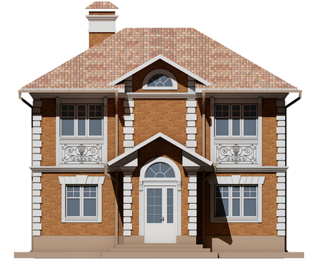 The Main Facade Of A Residential Beige And Symmetrical House Stock