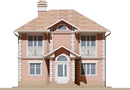 The main facade of a residential, pink and symmetrical house. 3D render