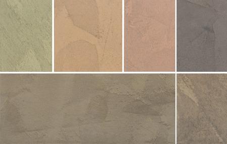 Variants of texture of plaster, decorative coating for walls. Brown, warm coloring Banco de Imagens