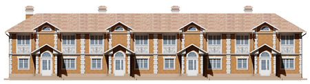 The main facade of the townhouses of brick and with stucco in a classical style Stock Photo