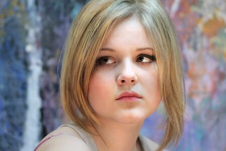 Portrait of a natural blonde, teenage girls with light makeup. Russian Reklamní fotografie