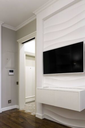 TV on the wall with a 3D panel. Laconic interior design. Banco de Imagens