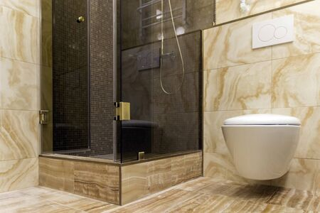Tinted shower and toilet on the background of tiles under a natural, yellow stone