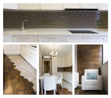 Collage of the interior of the kitchen. White and brown colors - warm color of the room