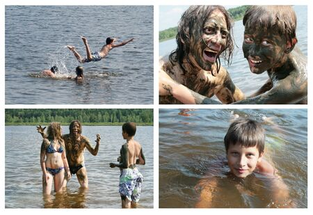 Collage - Dad, daughter and son wash away the healing mud, indulge and have fun, bathe and swim. Russia