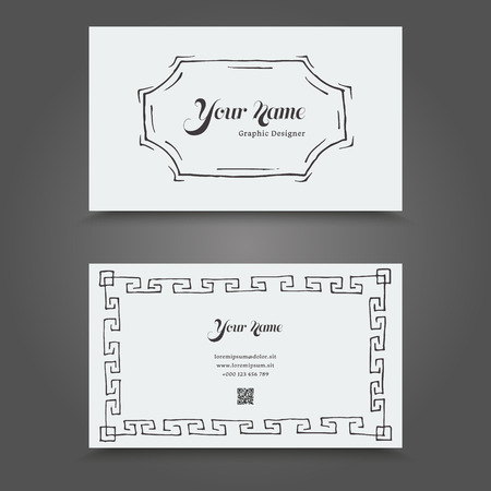 backside: Visit Card with hand drawn abstract elements. Hand Drawn Business Card Design. Illustration