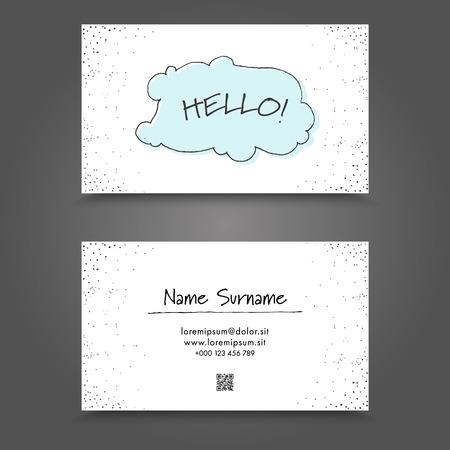 Carte de visite avec handdrawing cadre drôle. Handdraw Business Card design.