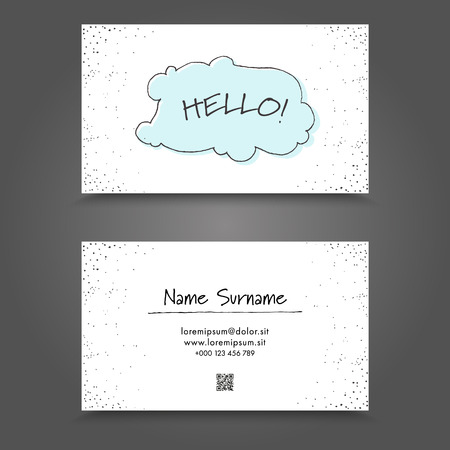 Visit Card with handdrawing funny frame. Handdraw Business Card Design. Stock Illustratie