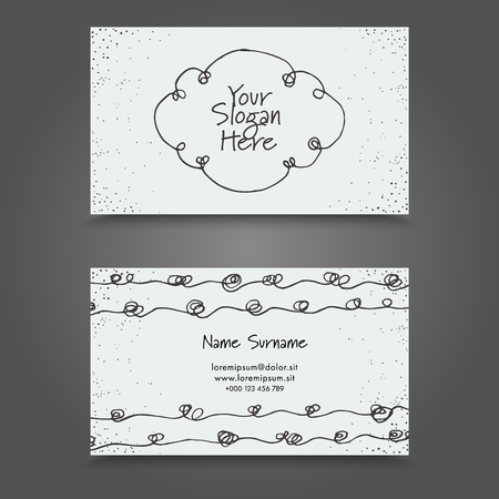 Visit Card with hand drawn abstract elements. Hand Drawn Business Card Design. Stock Illustratie