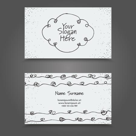Carte de visite avec la main dessinée éléments abstraits. Hand Drawn Business Card design.