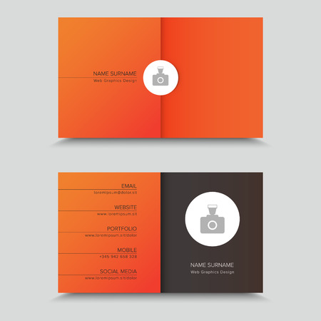 business cards: Business Card Design with photo on orange background.