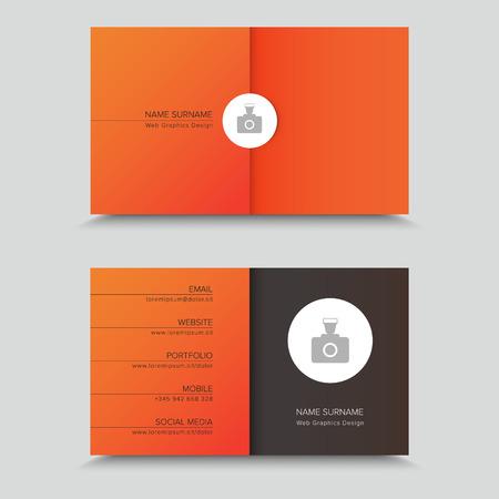 bum: Business Card Design with photo on orange background.