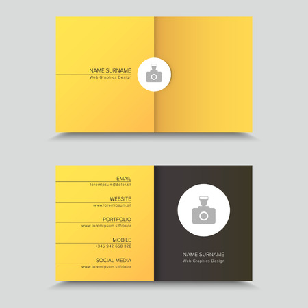 Business Card Design with photo on yellow background.