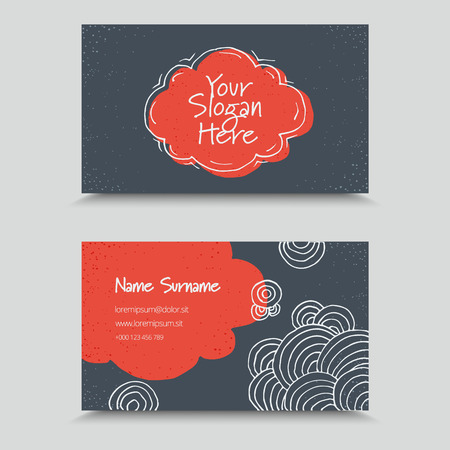 bum: Visit Card with hand drawn abstract elements. Hand Drawn Business Card Design. Illustration