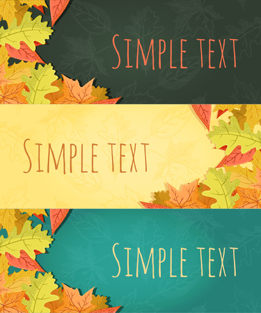 the fall: Vector large set of colorful, hand drawn style autumn leaves banners illustration