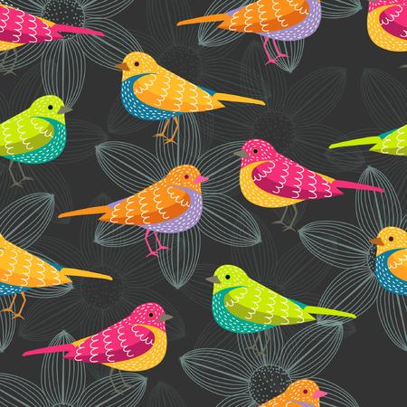bird seamless pattern on black background