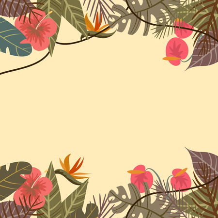 tropical border frame with flower and palm leaves monkey on light background