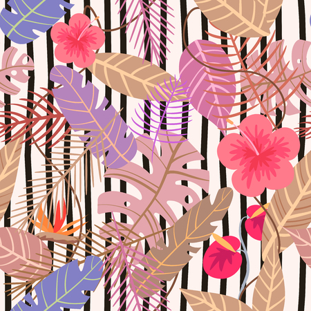 seamless tropical vector pattern with flower and palm leaves, plants on stripe background