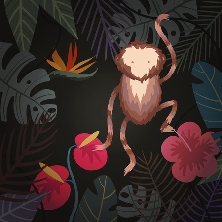 tropical background with flower, palm leaves and monkey Illustration