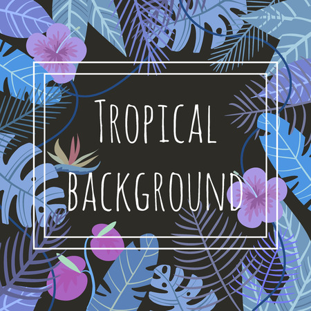 vector background with flower and palm leaves