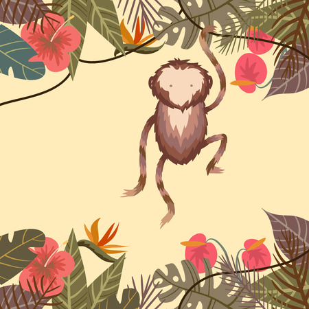 Tropical border frame with flower, palm leaves and monkey on light background Illustration