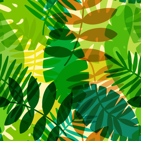 seamless tropical vector pattern with tropical plants and palm leaves