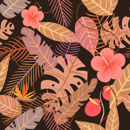 tropical vector pattern with flower and palm leaves on dark background