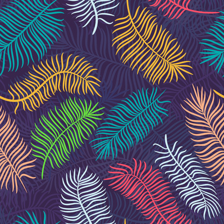 Tropical palmTropical palm leaves seamless pattern. Multicolor nature background leaves seamless pattern. Multicolor nature background