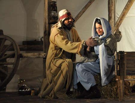 geburt jesu: Live-Version des Nativity Scene Lizenzfreie Bilder