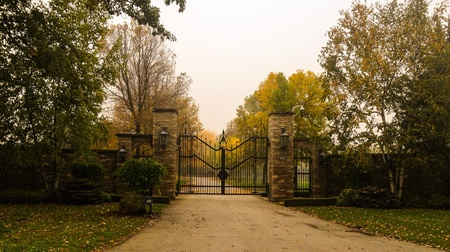 Iron gate leading to a long driveway
