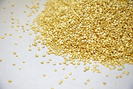 heap of quinoa grains on a white background