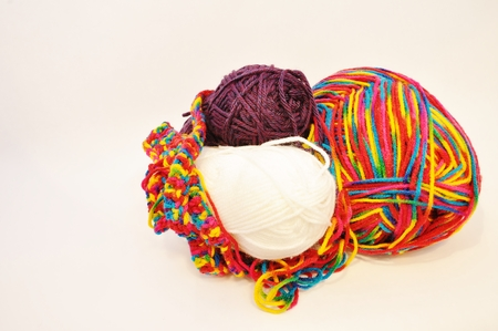 multi colored yarn isolated on a white background
