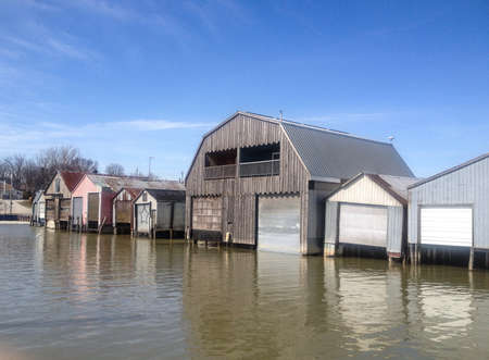 Old boathouses in a marina