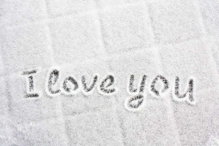 White snow with drown 'I love you' photo