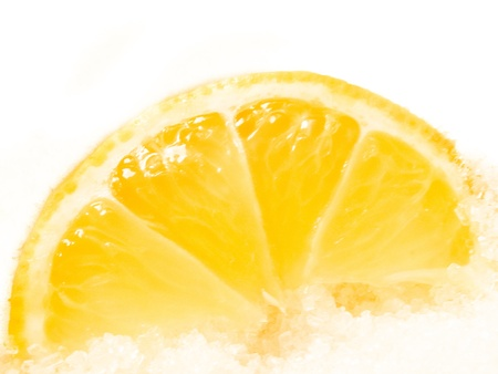 sours: Fresh lemon slices on a white background. Soft shadow