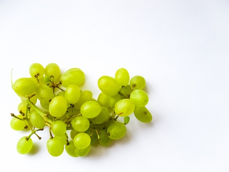 Green grapes on white background close up shoot photo
