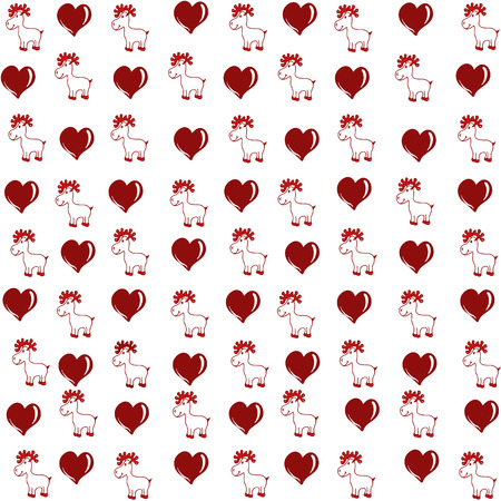 deer in heart: cherodovaniya pattern of deer and heart executed in red outline on a white background