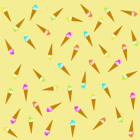pattern of scattered multi-colored ice-cream on a light yellow background