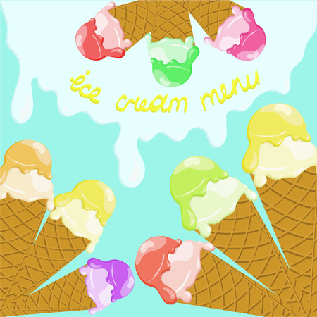 waffle cone: colored balls of ice cream in a waffle cone with an inscription menu of ice cream on a light blue background