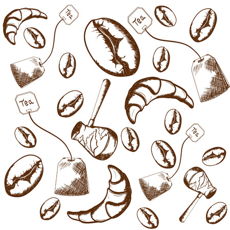 beans: pattern of scattered Turks, tea bags, coffee beans, croissants on a light background