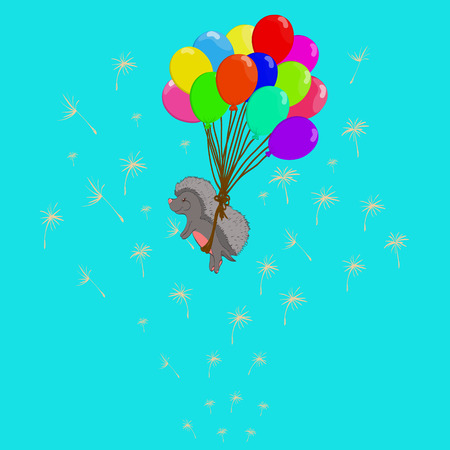 hedgehog on balloons with dandelions